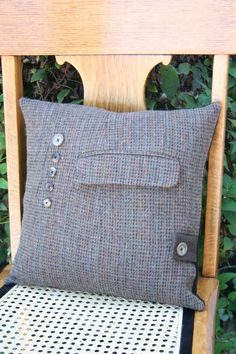 Recycled Brown Tweed n Buttons PILLOW COVER
