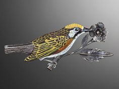 """And this brooch is called """"Serenata II  (Black and Yellow Spotted Warbler).""""  Marilyn da Silva"""