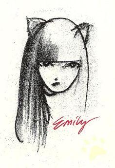 Emily the Strange postcard: charcoal portrait by DeeDeeQ5724, via Flickr