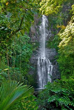 Maui HI, Hanna Roadside Waterfall, by PhotosbyFlood