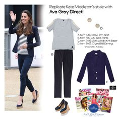 Replicate Kate Middleton's outfit with Ava Gray Direct! Try our Roped Trim Top with our Navy Blazer and City Sleek Pants Kate Middleton Outfits, Kate Middleton Style, Knit Blazer, Style Guides, Ava, What To Wear, Ootd, Knitting, Grey