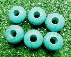 Turquoise gemstone roundel smooth big hole bead,Charm troll beads for bracelet #Handmade
