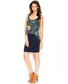 RACHEL Rachel Roy Printed Layered-Look Exposed-Zipper Dress - Rachel Roy Apparel - Women - Macy's