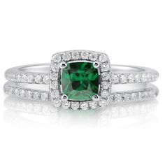 $39.99   BERRICLE Cushion CZ Simulated Emerald Silver 2-Pc Halo Bridal Ring Set 0.46 ct.tw Size 8 BERRICLE  Sterling silver http://www.amazon.com/dp/B0074PB5OE/ref=cm_sw_r_pi_dp_17CPub145CD9M
