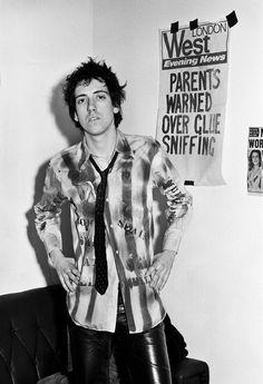 Mick Jones of The Clash photographed by Steve Emberton, 1976