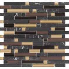 5-Pack Varietals Multi Glass Mosaic Subway Wall Tile (Common: 12-in x 12-in; Actual: 11.75-in x 11.87-in)