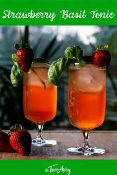 Strawberry Basil Tonic - A crisp and refreshing summer cocktail with homemade strawberry syrup, lime juice, fresh basil, and vodka. Mocktail variation included. | ToriAvey.com #cocktail #summercocktail #mixology #strawberrysyrup #simplesyrup #basil #TorisKitchen Refreshing Summer Cocktails, Cocktail And Mocktail, Cocktail Desserts, Best Cocktail Recipes, Fun Cocktails, Summer Drinks, Fun Drinks, Beverages, Liquor Drinks