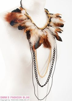 Feather Necklace...chance up the color, etc if you want to suit your style. - DIY - Click the picture for a how-to