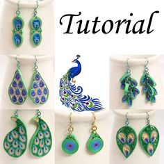 Tutorial for Paper Quilled Peacock Earrings PDF - Peacock inspired eco friendly jewelry Easy paper quilling turtle that your kids can make from construction paper - TwitchettsCreate adorable turtle crafts with this paper quilling technique Quilling Instructions, Paper Quilling Tutorial, Paper Quilling Designs, Quilling Patterns, Paper Quilling Earrings, Quilling Paper Craft, How To Do Quilling, Peacock Jewelry, Peacock Earrings