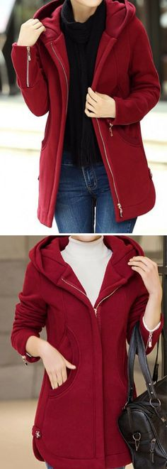 Wine Red Hooded Collar Zipper Up Curved Coat. Use coupon only $42.85! Code:new9