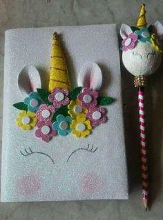 #gomaeva Foam Crafts, Diy And Crafts, Arts And Crafts, Diy For Kids, Crafts For Kids, Unicorn Books, Unicorn Crafts, Diy Notebook, Unicorn Birthday Parties