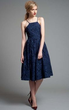 $488 Tracy Reese Midnight Navy Cocktail Frock