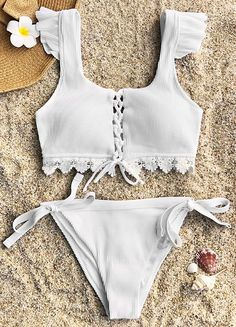 Have some fun in the sun~ Step on the sand and feel the genial touch of breeze on the beach! Cupshe Fairy Land Lace Bikini Set features lace hem and ties at bottom. Super sweety and pretty! FREE shipping! Check now.