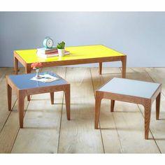 Table basse carr e new retro en verre et fr ne massif 3 - 3 suisses table basse ...