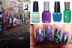 Graffiti Inspired Nails - #graffiti #nailart #nails #blue #purple #blue #green #swirl - bellashoot.com