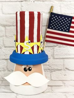 The Cutest Upcycled Clay Pot Uncle Sam - Creatively Beth Chore Jar, Yellow Crafts, Halloween Facts, Can Of Soup, Cool Uncle, Cute Clay, Patriotic Party, Foam Crafts, Clay Pots