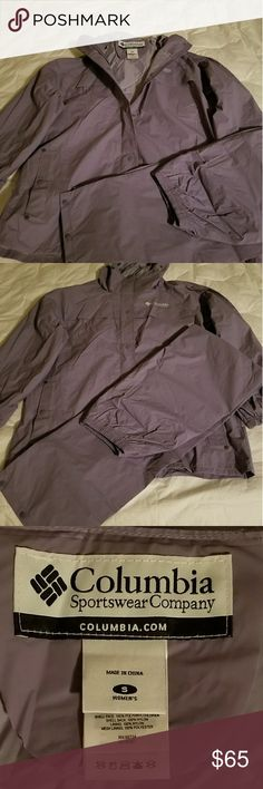Columbia Sportswear waterproof wind suit. 2 pc. NWOT Columbia Sportswear 2 piece windgear - Hooded jacket and pants. Lilac purple. Waterproof.  Size small. Great for all your outdoor sports and activities. Columbia Jackets & Coats Utility Jackets