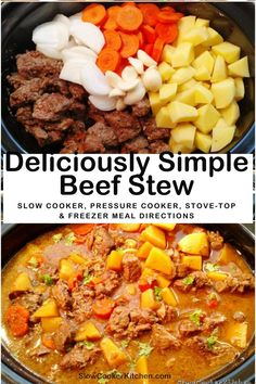 Amazingly easy, cheap and tasty beef stew recipes in a slow cooker! With slow cooker, skillet-cooked, pressure cooker, Slow Cooker Kitchen, Slow Cooker Beef, Slow Cooker Recipes, Beef Recipes, Soup Recipes, Tasty Beef Stew Recipe, Easy Beef Stew, Crock Pot Soup, Freezer Meals