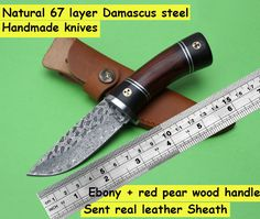 XITUO Handmade Damascus fixed knife 67 layer Damascus steel Ebony+red pear wood handle tactical knife outdoor survival rescue #Affiliate