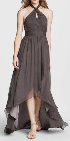 Jenny Yoo 'Olivia' Crinkled Chiffon High/Low Halter Dress
