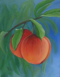 """Two Peaches"" - Prints and greeting cards of my original oil painting for sale on Fine Art America."