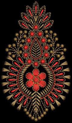 butta – Tedeex Zardosi Embroidery, Embroidery On Kurtis, Kurti Embroidery Design, Hand Embroidery Flowers, Embroidery Works, Embroidery Stitches, Embroidery Patterns, Machine Embroidery, Magam Work Designs