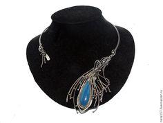 """Купить Колье """"Зимняя река"""" - колье серебряное, колье серебро, колье с агатом, silver necklace"""