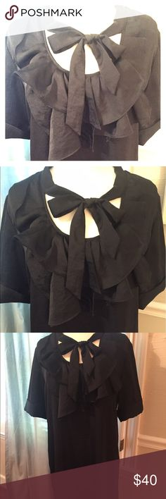 Gap Ruffled Black Dress Pretty and girly black ruffled dress with tie and short cuffed sleeves from Gap, size Medium.  Wonderful condition and such a perfect dress for any occasion. GAP Dresses