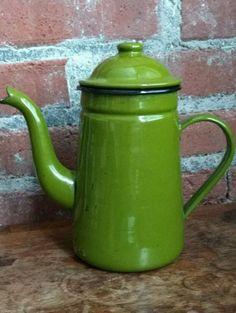 Vintage Enamelware Coffee (or Flower?) Pot
