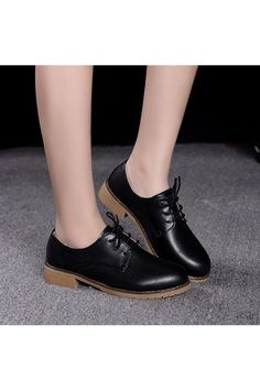 Women's Casual Leather Shoes Flat Shoes Lace-up Shoes (Black) | ราคา: ฿1,100.00 | Brand: Unbranded/Generic | See info: http://www.topsellershoes.com/product/18298/womens-casual-leather-shoes-flat-shoes-lace-up-shoes-black
