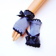 Handknit Gray Fingerless Gloves Knit Gray Mitten by RoseAndKnit