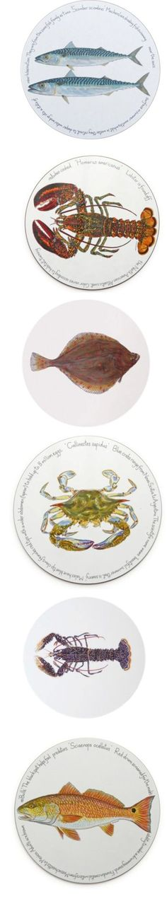 a few plates of the Jersey Pottery sea food/fruits de mer collection !! Ravishing ! Fresh, funny and holiday oriented.