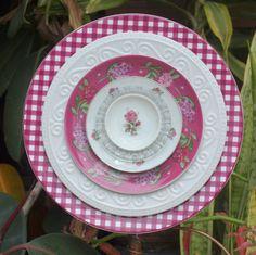 pink burgundy plum Glass Plate Flower Rose by ARTfulSalvage, $43.00