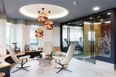 Office Tour: Fourfront Group Offices – London – Creative Home Office Design Office Furniture Design, Workspace Design, Office Workspace, Office Interior Design, Office Interiors, Modern Interior, Office Designs, Office Spaces, Commercial Interior Design