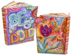 Altered Book Journal Workshop in Colorado! Art Camp for Women, June 2013 - Liesel Lund Art Journal Pages, Journal Covers, Book Covers, Kunstjournal Inspiration, Art Journal Inspiration, Journal Ideas, Junk Journal, Cool Journals, Art Journals