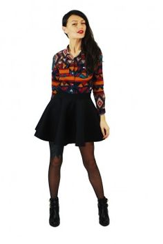 Camasa Happy Aztek Skater Skirt, Skirts, Fashion, Moda, Fashion Styles, Skater Skirts, Skirt, Fashion Illustrations