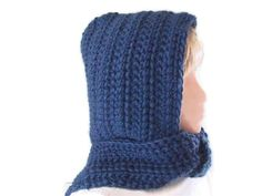 Hood & Scarf Combo in Petrol Blue Wool by UniquelyYourDesigns, $70.00