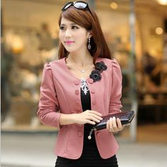2017 Double Breasted Floral Blazer Women Suits Elegant Suit Jacket Casual Blaser Plus Size Cape Blazer Mujer Black Pink White
