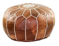 "GRAN Handmade Leather Moroccan Pouf Footstool Ottoman | Brown Genuine Leather with Hand Embroidered White Stitching | Unstuffed   	 		 			 				 					Famous Words of Inspiration...""Your children need your presence more than your presents.""					 				 				 					Jesse Jackson 						—... more details available at https://furniture.bestselleroutlets.com/accent-furniture/poufs/product-review-for-gran-handmade-leather-moroccan-pouf-footstool-ottoman-brown-genuine-leat"