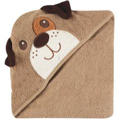 Luvable Friends Hooded Towel with Embroidery, Choose Your Animal, Brown