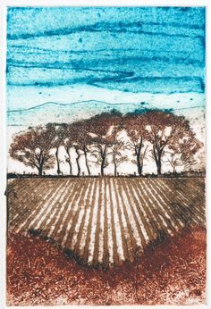 Sycamores at Strathsteven Collagraph, Dry Stone, Tree Paintings, Board Art, Lino Cuts, Lino Prints, Tree Art, Stems, Journal Inspiration