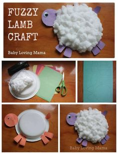 Lambs using paint and cotton wool and paper plates.