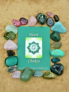 HEART CHAKRA CRYSTALS (listed clockwise starting with the upper right hand corner): Amazonite, Aventurine, Green Calcite, Chrysoprase, Dioptase, Emerald, Epidote, Fuchsite, Jade, Kunzite, Green Kyanite, Malachite, Moldavite, Morganite, Peridot, Prehnite, Rhodochrosite, Rhodonite, Rose Quartz, Seraphinite, Watermelon Tourmaline, Pink Tourmaline, Green Tourmaline.   This is by no means all of the Heart chakra crystals, but these are among some of my favorites.