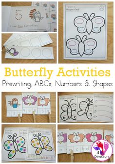 Butterfly Activities Pack for Prewriting, Shape, ABCs & Numbers Insect Activities, Preschool Learning Activities, Work Activities, Preschool Curriculum, Homeschooling, Kindergarten, Tracing Shapes, Alphabet Tracing, Insect Crafts
