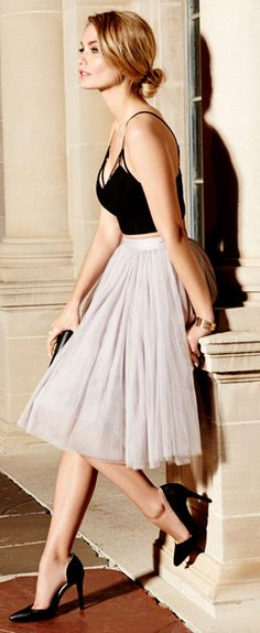 Black Cami-top & grey tulle skirt.
