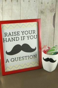"""Mustache Mugs (mustache templates)  & """"Raise Your Hand if You Mustache a Question,"""" free printable for easy holiday teacher gifts from MomAdvice.com."""