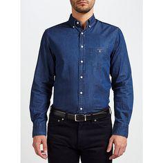 Buy Gant Indigo Chambray Button Down Shirt, Dark Indigo, S Online at johnlewis.com