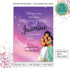Princess Jasmine Invitation Aladdin invitations Princess