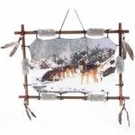 Cadre Amérindien design Meute de Loups dans la neige