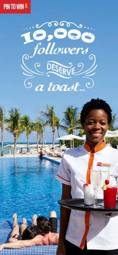 Follow us & Pin to Win a 5-night stay for 2 people at RIU! We've hit 10.000 Pinterest followers and we are celebrating it with a giveaway!     -- ¡Ya somos 10.000 seguidores en Pinterest y lo celebramos con un sorteo! Síguenos y pinea esta imagen para ganar una estancia de 5 noches en tu RIU favorito para 2 personas.